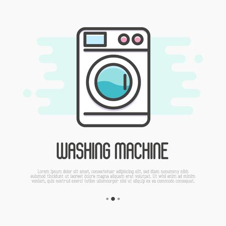 Значок тонкой линии стиральной машины. Векторные иллюстрации для прачечной или сантехники логотип.