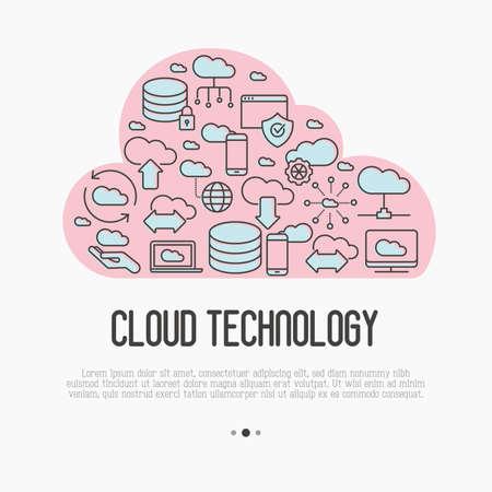 Концепция технологии облачных вычислений с использованием тонких значков линий, связанных с хостингом, хранением на сервере, облачным управлением, безопасностью данных, мобильной и настольной памятью. Векторные иллюстрации.