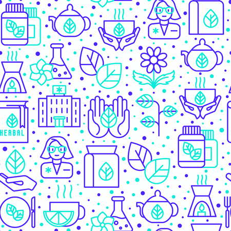 Herbal therapy seamless pattern with thin line icons: herbalist, decoction, aromatic oil, oil burner, tea. Vector illustration for banner, web page, print media.