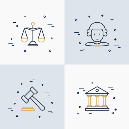 Law and justice thin line icons set: judge, scales, hammer, court vector illustration.