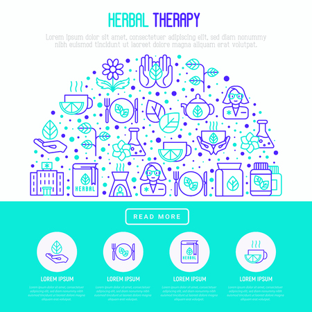 Herbal therapy concept in half circle with thin line icons: herbalist, aromatic oil, oil burner, tea vector illustration for banner, web page, print media. Illustration