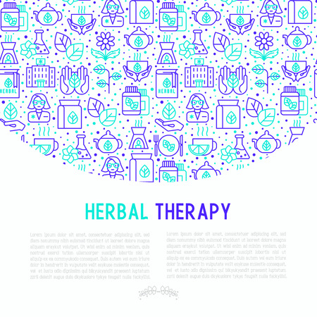 Herbal therapy concept with thin line icons