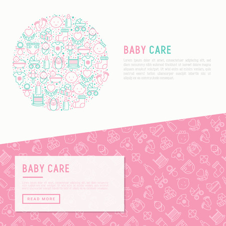 Baby care concept in circle with thin line icons: newborn, diaper, pacifier, crib, footprints, bathtub with bubbles vector illustration for banner, web page, print media.