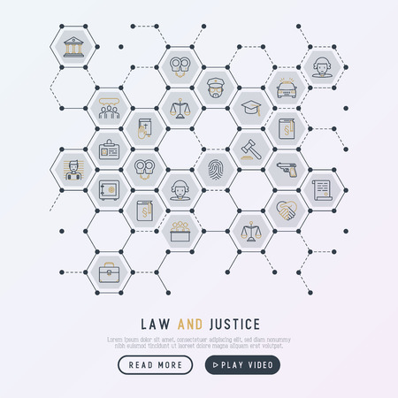 Law and justice concept in honeycombs with thin line icons