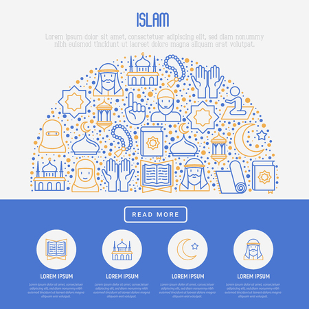 Islamic concept with thin line icons: mosque, carpet, rosary, prayer, koran, moslem. Modern vector illustration, template for web page.