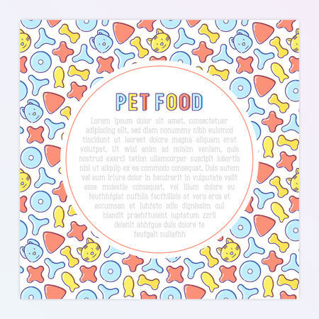 Pet food concept with thin line icons of dry food in different shapes and cute dog and cat. Modern vector illustration.   イラスト・ベクター素材
