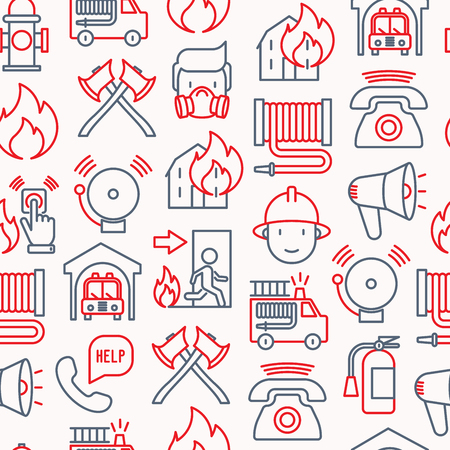 Firefighter seamless pattern with thin line icons: fire, extinguisher, axes, hose, hydrant. Modern vector illustration for banner, web page, print media. Vettoriali