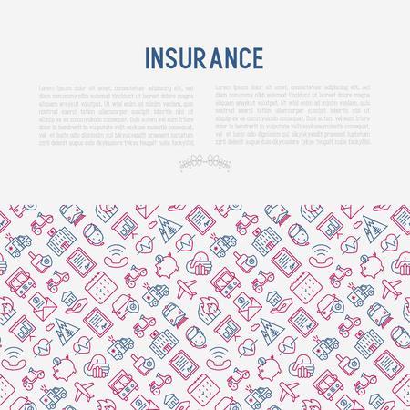 Concetto di assicurazione con icone di linea sottile: salute, vita, auto, casa, risparmio. Illustrazione moderna di vettore per banner, modello di pagina Web, supporti di stampa. Archivio Fotografico - 99646430