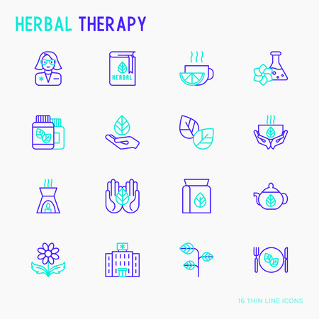 Herbal therapy thin line icons set: herbalist, decoction, aromatic oil, oil burner, tea. Vector illustration. Illustration