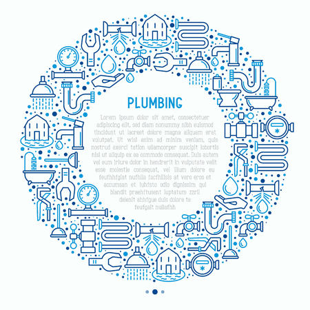 Plumbing concept in circle with thin line icons of bathtub, shower, pipe, wrench, drop, leakage, meter, plunger. Modern vector illustration for banner, web page, print media.