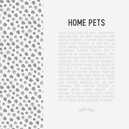 Pet paws concept with place for text. Thin line vector illustration for pet shop, training. shelter. Illustration