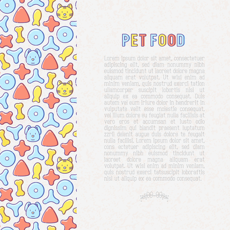 Pet food concept with thin line icons of dry food in different shapes and cute dog and cat. Modern vector illustration. 矢量图像