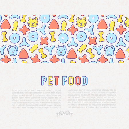 Pet food concept with thin line icons of dry food in different shapes and cute dog and cat. Modern vector illustration for banner or web page.