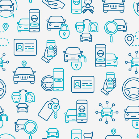 Car sharing seamless pattern with thin line icons of driver's license, key, blocked car, pointer, available, searching of car vector illustration for banner, web page, print media. Ilustração