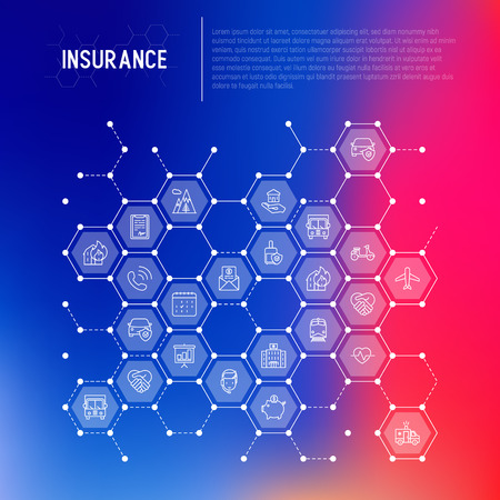 Insurance concept in honeycombs with thin line icons: health, life, car, house, savings. Modern vector illustration for banner, template of web page, print media.  イラスト・ベクター素材