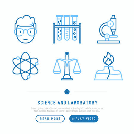 Science and laboratory thin line icons set of scientist, microscope, scales, vials, spirit lamp. Vector illustration. Illustration
