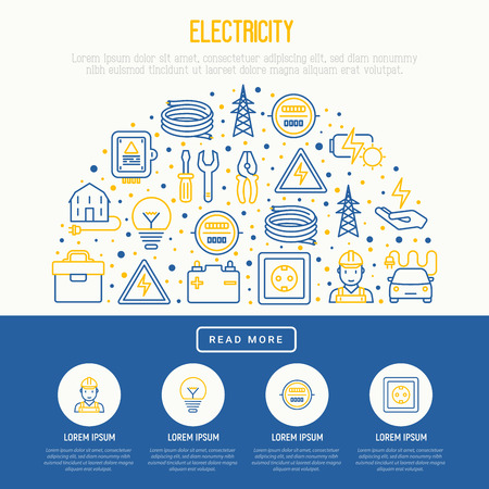 Electricity concept in half circle with thin line icons: electrician, bulb, pylon, toolbox, cable, electric car, hand, solar battery. Vector illustration for banner, web page, print media. Illustration
