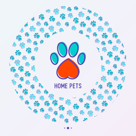 Pet paws concept in circle shape with Thin line vector illustration for pet shop, training. Illustration