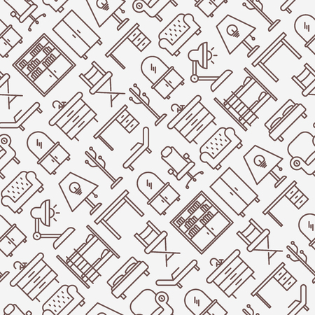 Furniture seamless pattern with thin line icons set.a