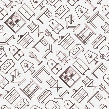 Conjunto de patrones sin fisuras de muebles con iconos de línea delgada. Ilustración de vector
