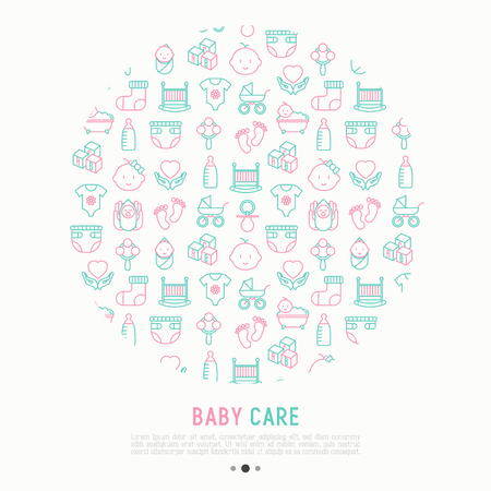 Baby care concept in circle with thin line icons: newborn, diaper, pacifier, crib, footprints, bathtub with bubbles. Vector illustration for banner, web page, print media. Stock Illustratie