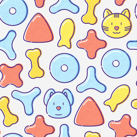Pet food seamless pattern with thin line icons of dry food in different shapes and cute dog and cat. Modern vector illustration.