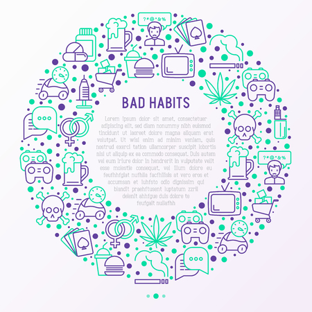 Bad habits concept in circle with thin line icons: abuse, alcoholism, cigarette, marijuana, drugs, fast food, poker, promiscuity, tv, video games. Stock Illustratie