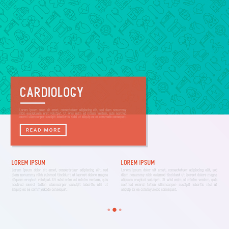 Cardiology concept with thin line icons set: cardiologist, stethoscope, hospital, pulsemeter, cardiogram, heartbeat.