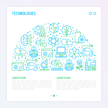 Technologies concept in half circle with thin line icons of: electric car, rocket, robotics, solar battery, machine intelligence, web development. Vector illustration for web page, print media. Ilustração