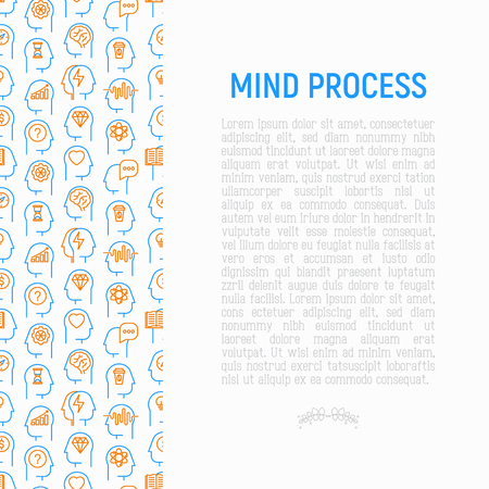 Mind process concept with thin line icons set: intelligence,  passion, conflict, innovation, time management, exploration, education, logical thinking. Modern vector illustration for web page, print media.