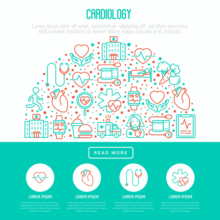 Cardiology concept in half circle with thin line icons set Ilustração