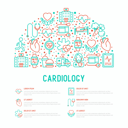 Cardiology concept in half circle with thin line icons set: cardiologist, stethoscope, hospital, pulsometer, cardiogram, heartbeat. Modern vector illustration for banner, web page, print media. Vettoriali