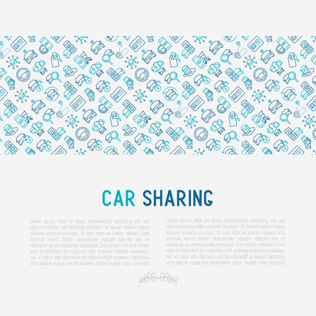 Car sharing concept with thin line icons of drivers license.