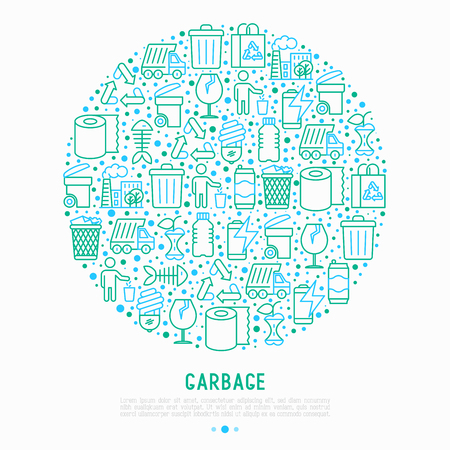 Garbage concept in circle with thin line icons Modern vector illustration for web page.  イラスト・ベクター素材