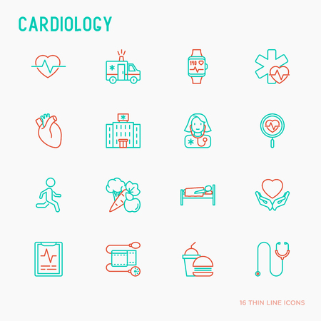 Cardiology thin line icons set