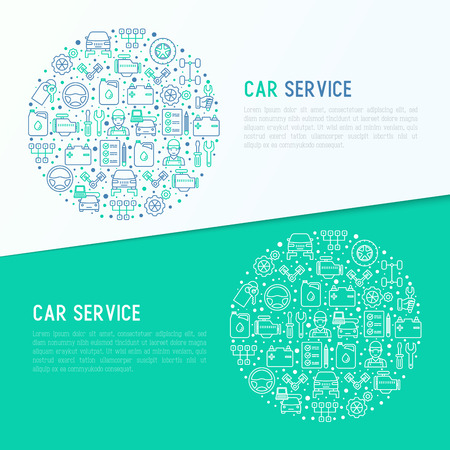 Car service concept in circle with thin line icons