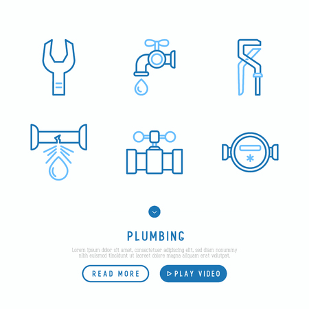 Plumbing thin line icons