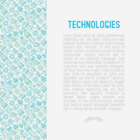 Technologies concept with thin line icons of: electric car, rocket, robotics, solar battery, machine intelligence, web development. Vector illustration for banner, web page, print media. Illustration