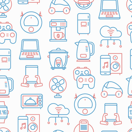 Internet of things seamless pattern with thin line icons