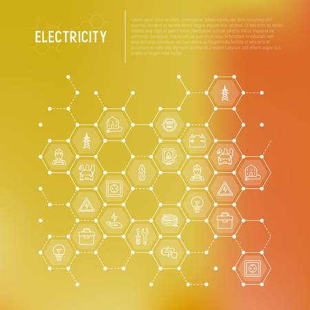 Electricity concept in honeycombs with thin line icons