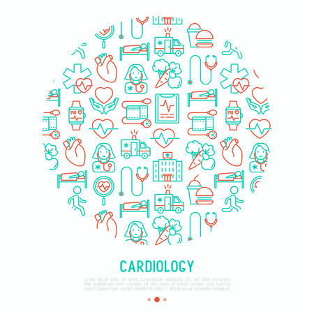 Cardiology concept in circle with thin line icons set.