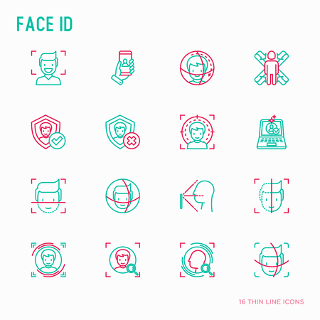 Face ID thin line icons set: face recognition, scanning, mobile authentication, approved, disapproved, face detect. Modern vector illustration. Vettoriali