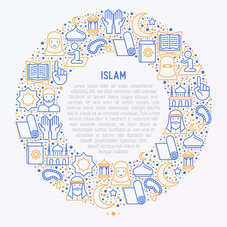 Islamic concept in circle with thin line icons.