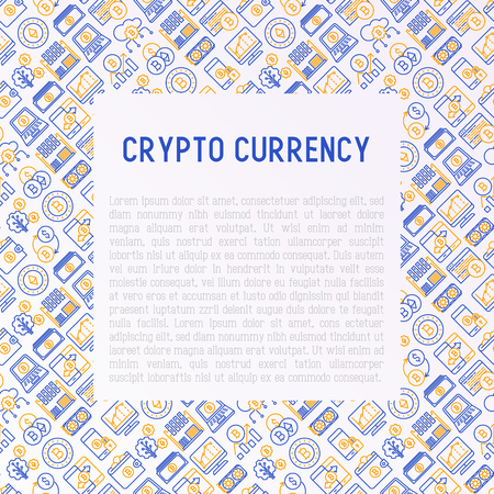 Cryptocurrency concept with thin line icons set.