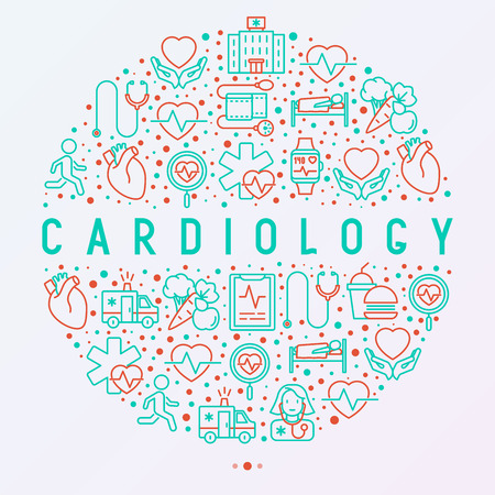 Cardiology concept in circle with thin line icons set: cardiologist, stethoscope, hospital, pulsometer, cardiogram, heartbeat. Modern vector illustration for banner, web page, print media. Иллюстрация