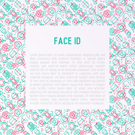 Face ID concept with thin line icons: face recognition, scanning, mobile authentication, approved, disapproved, face detect. Modern vector illustration, template for web page. Illustration