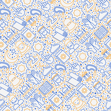 Islamic seamless pattern with thin line icons: mosque, carpet, rosary, prayer, koran, moslem. Modern vector illustration for background.