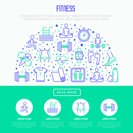 Fitness concept in half circle with thin line icons of running, dumbbell, waist, healthy food, swimming pool, pulse, wireless earphones, sportswear, yoga. Modern vector illustration for web page.