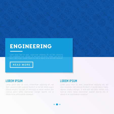 Engineering concept with thin line icons: engineer, electrinocs, calculations, tools, repair, idea, it server. Modern vector illustration for web page, banner, print media. Illustration