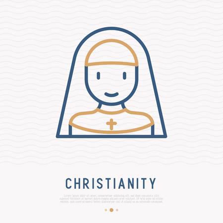 Nun thin line icon. Modern vector illustration of christian woman.